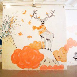 Ilustración sobre pared